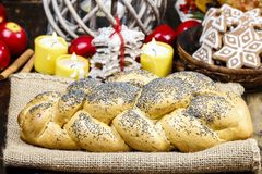 Festive bread with poppy seed Royalty Free Stock Photography
