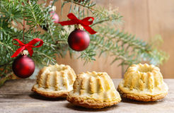 Festive breads under christmas tree. Stock Photo