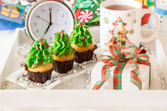 Festive breakfast new year soon concept. Royalty Free Stock Photos