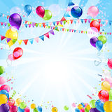 Festive bright background. With balloons and flags Royalty Free Stock Photo