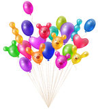 Festive bright balloons. A festive bunch of bright balloons unusual shaped, festive design elements Stock Photography