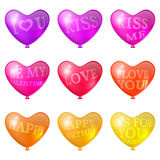 Festive bright balloons. Set a festive bright balloons in the shape of heart with holiday inscriptions Royalty Free Stock Photos