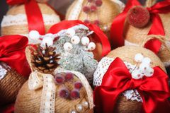 Festive bright balls, decoration for the Christmas tree. The concept of the winter holidays. New year tree decor. stock image