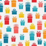 Festive bright gift box seamless pattern. Illustration Royalty Free Stock Images