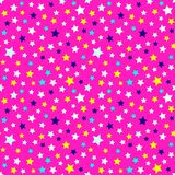 Festive and bright pattern of starry night - background for kids parties and celebration. Vector illustration, seamless pattern. stock illustration