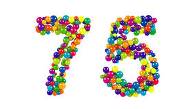Festive brightly colored number seventy-five, 75. Formed from rainbow colored balls of different sizes on a white background for use as a design element stock illustration
