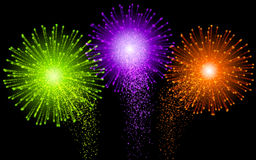 Festive Brightly Colorful Vector Fireworks and Salute Shiny tricolor firework. On the dark sky. Black background Royalty Free Stock Photography