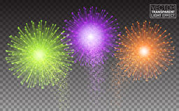 Festive Brightly Colorful Vector Fireworks and Salute Shiny tricolor firework. On the dark sky. Burst on Transparent Background Stock Images