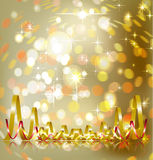 Festive brilliant yellow background. With serpentine Royalty Free Stock Photography