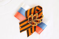 Festive brooch with a St.George's Ribbon Stock Image