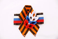 Festive brooch with a St.George's Ribbon Stock Photography