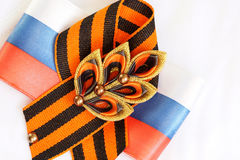 Festive brooch with a St.George`s Ribbon Royalty Free Stock Image