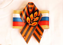 Festive brooch with a St.George`s Ribbon Stock Photos