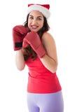 Festive brunette in boxing gloves Stock Images