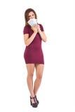 Festive brunette holding fan of euros Stock Photography