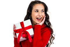 Festive brunette holding a gift Royalty Free Stock Photos