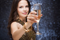 Festive brunette. Stock Images
