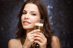Festive brunette. Royalty Free Stock Image
