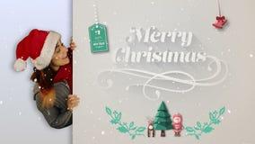 Festive brunette presenting a christmas card stock video