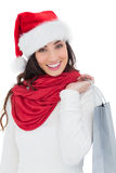 Festive brunette in winter wear holding shopping bag Stock Photos
