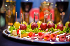 Festive buffet with wine and glasses.  Stock Photos