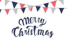 Festive bunting flags. Christmas decorations. Royalty Free Stock Images