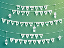 Festive bunting flags with greetings. Ramadan greetings. Royalty Free Stock Photography