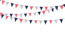 Festive bunting flags. Holiday decorations. Stock Photos