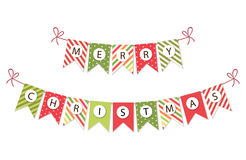 Festive bunting flags with letters Merry Christmas in traditional colors Royalty Free Stock Images