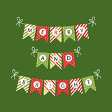 Festive bunting flags with letters Merry Christmas in traditional colors Stock Photo