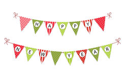 Festive bunting flags with letters Merry Christmas in traditional colors Royalty Free Stock Photo