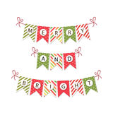 Festive bunting flags with letters Merry Christmas in traditional colors. For your decoration Royalty Free Stock Photography