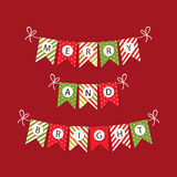 Festive bunting flags with letters Merry Christmas in traditional colors Stock Photos