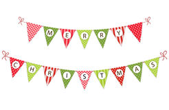 Festive bunting flags with letters Merry Christmas in traditional colors Royalty Free Stock Photos