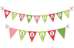 Festive bunting flags with letters Merry Christmas in traditional colors. For your decoration Stock Photography