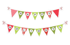 Festive bunting flags with letters Merry Christmas in traditional colors Royalty Free Stock Image
