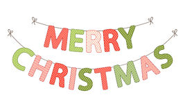 Festive bunting flags with letters Merry Christmas in traditional colors Stock Photography
