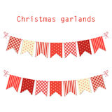 Festive bunting flags Merry Christmas in traditional colors Royalty Free Stock Photography
