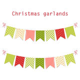 Festive bunting flags Merry Christmas in traditional colors Stock Photography