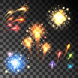 Festive bursting firework set. Festive colorful firework bursting in various shapes sparkling on transparent background Stock Images
