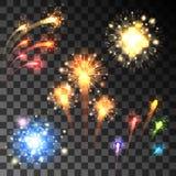 Festive bursting firework set Stock Images