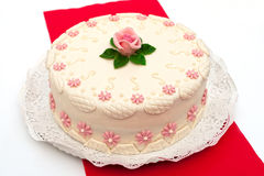 Festive cake. With marzipan flowers Stock Image