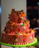 Festive cake with bears and flowers in Strasbourg, France Royalty Free Stock Images