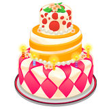 Festive cake with candles, beads and flowers Royalty Free Stock Image