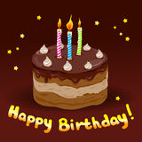 Festive cake with candles. Vector illustration Royalty Free Stock Images