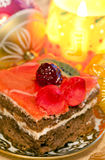 Festive cake and Christmas decor Stock Photos