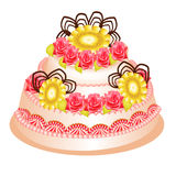Festive cake with cream flower on white Royalty Free Stock Images