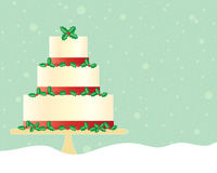 Festive cake. An illustration of a festive christmas cake in greeting card format decorated with red ribbon and seasonal holly with a green snowy background Royalty Free Stock Photos