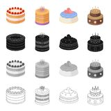 A festive cake and other types of dessert. Cake set collection icons in cartoon black monochrome outline style vector. A festive cake and other types of dessert Royalty Free Stock Images
