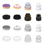A festive cake and other types of dessert. Cakes set collection icons in cartoon black monochrome outline style vector. Symbol stock illustration Royalty Free Stock Photo